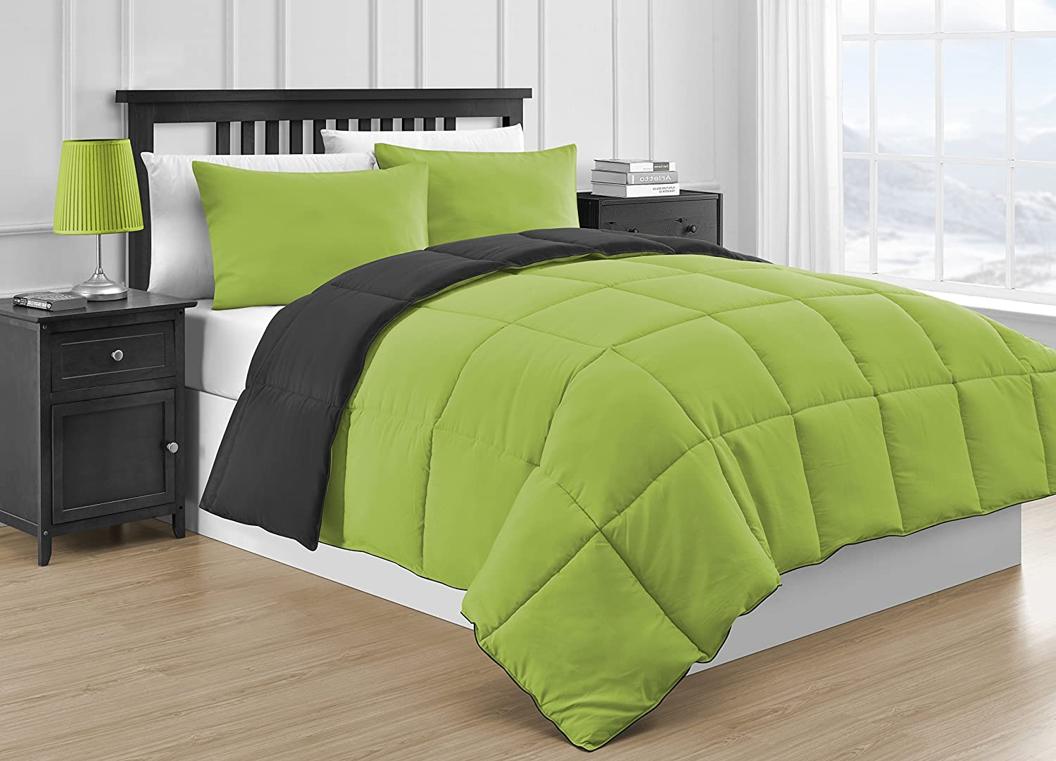 fy Bedding Reversible Microfiber Black & Lime Green 3