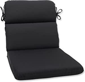 Pillow Perfect Outdoor | Indoor Canvas Black Round Corner Chair Cushion, 40.5