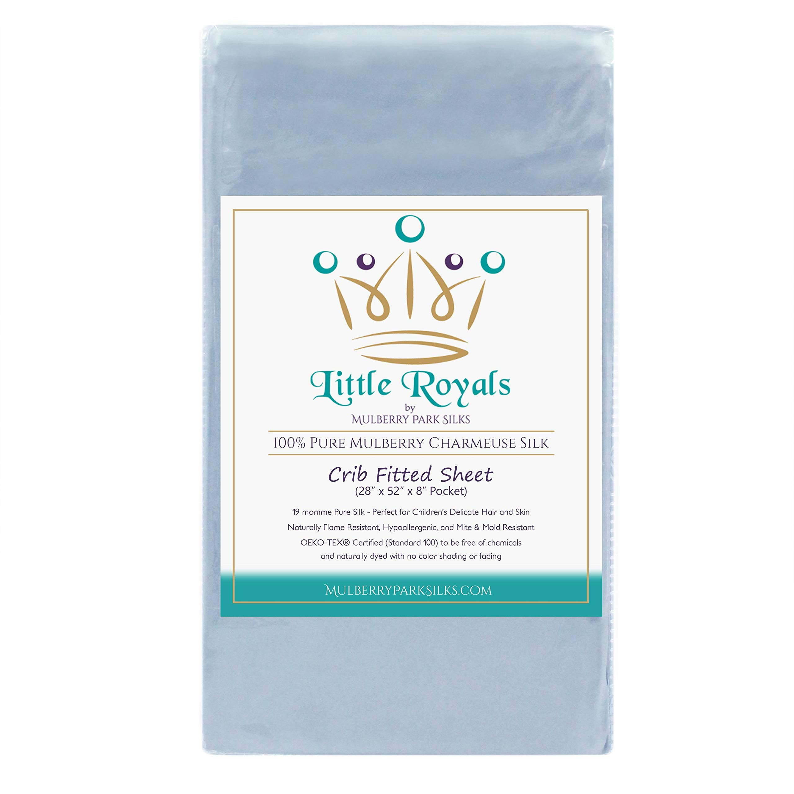Little Royals Fitted Crib Sheet (28'' x 52'') - Bedtime Blue - 100% Pure Charmeuse Silk - Soft, Gentle Fabric for a Child's Delicate Skin and Hair - 19 Momme by Mulberry Park Silks