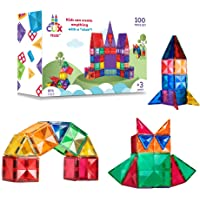 Clix-tiles magnetic building blocks toy | set of 100 pieces colorful diamond tiles for kids | open-ended toy educational…