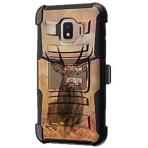 TurtleArmor | Compatible with Samsung Galaxy J2 Core Case | J2 Dash Case | J2 Pure Case [Hyper Shock] Hard Dual Layer Hybrid Rugged Belt Clip Holster Kickstand Case Animal - Nature Deer