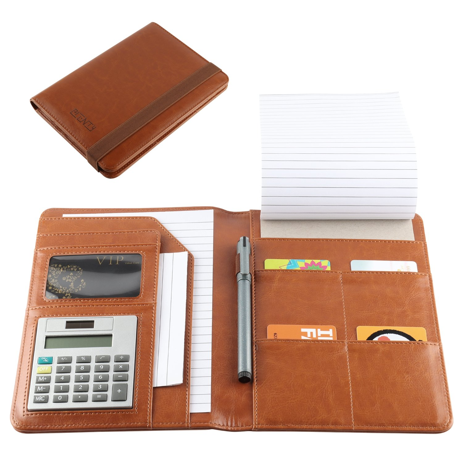 Leather Portfolio, Small Notebook Padholder Junior Legal Notepad with Calculator, 5 x 8 Inches Note Paper, Pen Holder and Business Card Slots.