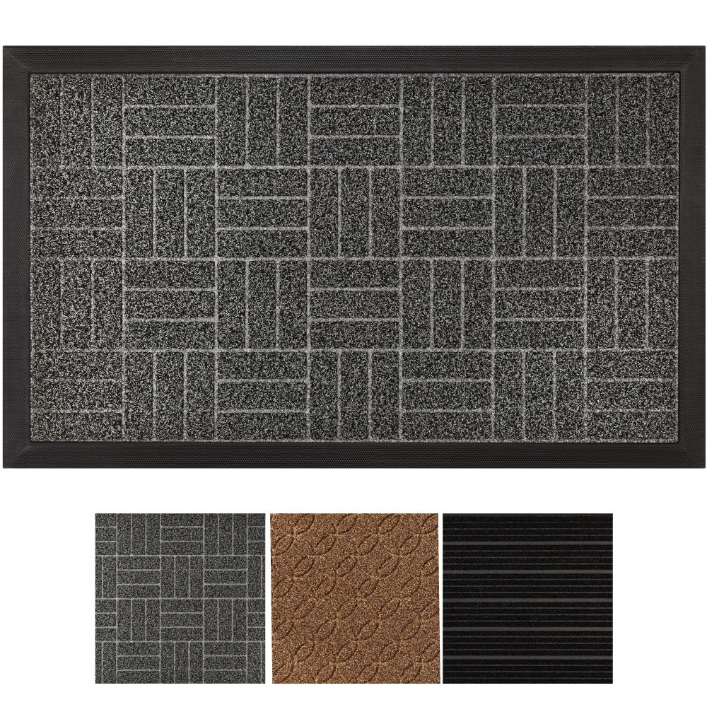 GRIP MASTER Durable, Tough All-Natural Rubber Indoor Outdoor Door Mat, Extra Large (29'' x 17'') Boot Scraper, Inside or Outside Entryway Front Door, Waterproof, Low-Profile, Easy-to-Clean (Charcoal)