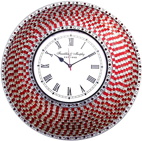 DecorShore Round Decorative Wall Clock Handmade Mosaic Glass Frame with Beaded Bezel Large Wall Clock for Home Decor, Bedroom, Kitchen, Bathroom Silent Motion Non-Ticking Red and Silver – 22.5