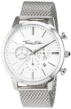 8f7901e06a18a Thomas Sabo Montre pour Homme de bracelet Eternal Chrono Black Chronographe  Quartz Cuir wa0242-218