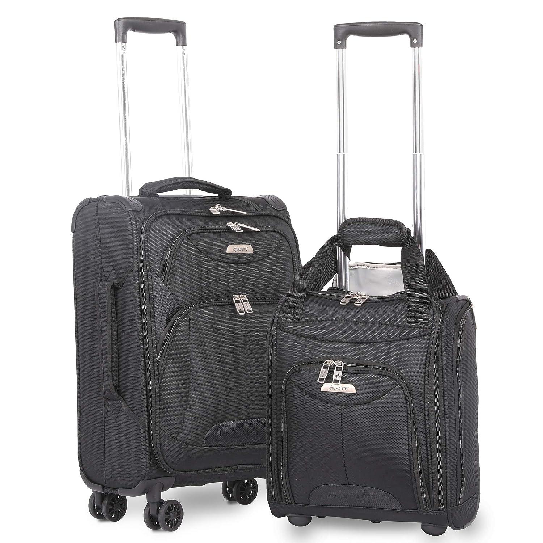 "7b154f637462 Aerolite 21"" Inch Carry On Lightweight 4 Wheel Spinner Suitcase & 16"" Under  Seat Bag Set (Black)"