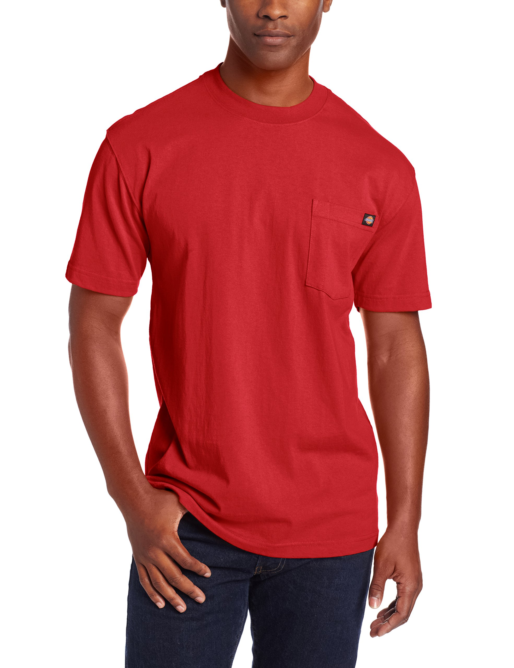 Dickie's Men's Short Sleeve Heavyweight Crew Neck Pocket T-Shirt, English Red, X-Large