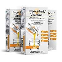 Lypo–Spheric Vitamin C – 3 Cartons (90 Packets) – 1,000 mg Vitamin C & 1,000 mg...