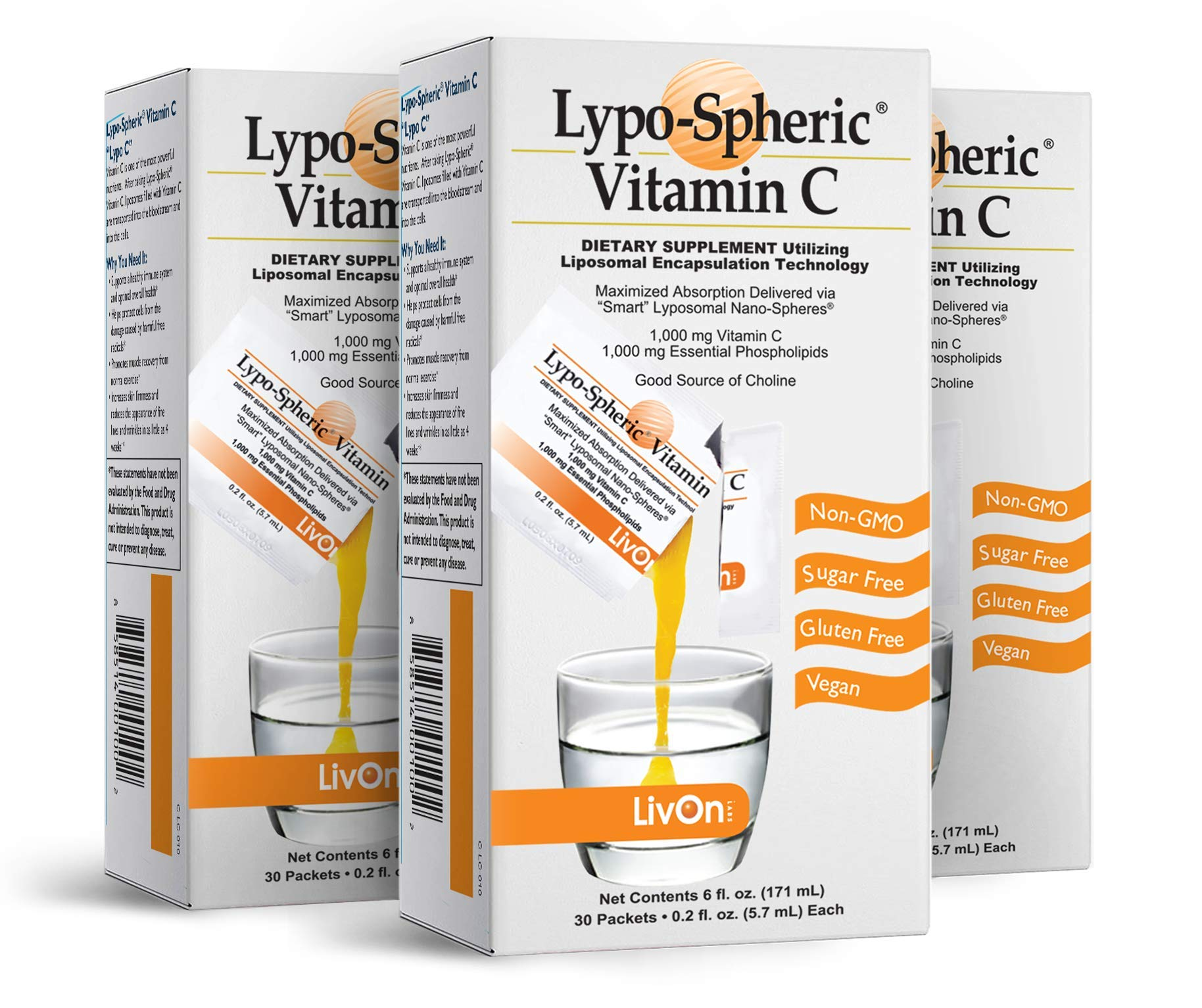 Lypo–Spheric Vitamin C – 3 Cartons (90 Packets) – 1,000 mg Vitamin C & 1,000 mg Essential Phospholipids Per Packet – Liposome Encapsulated for Improved Absorption – 100% Non–GMO
