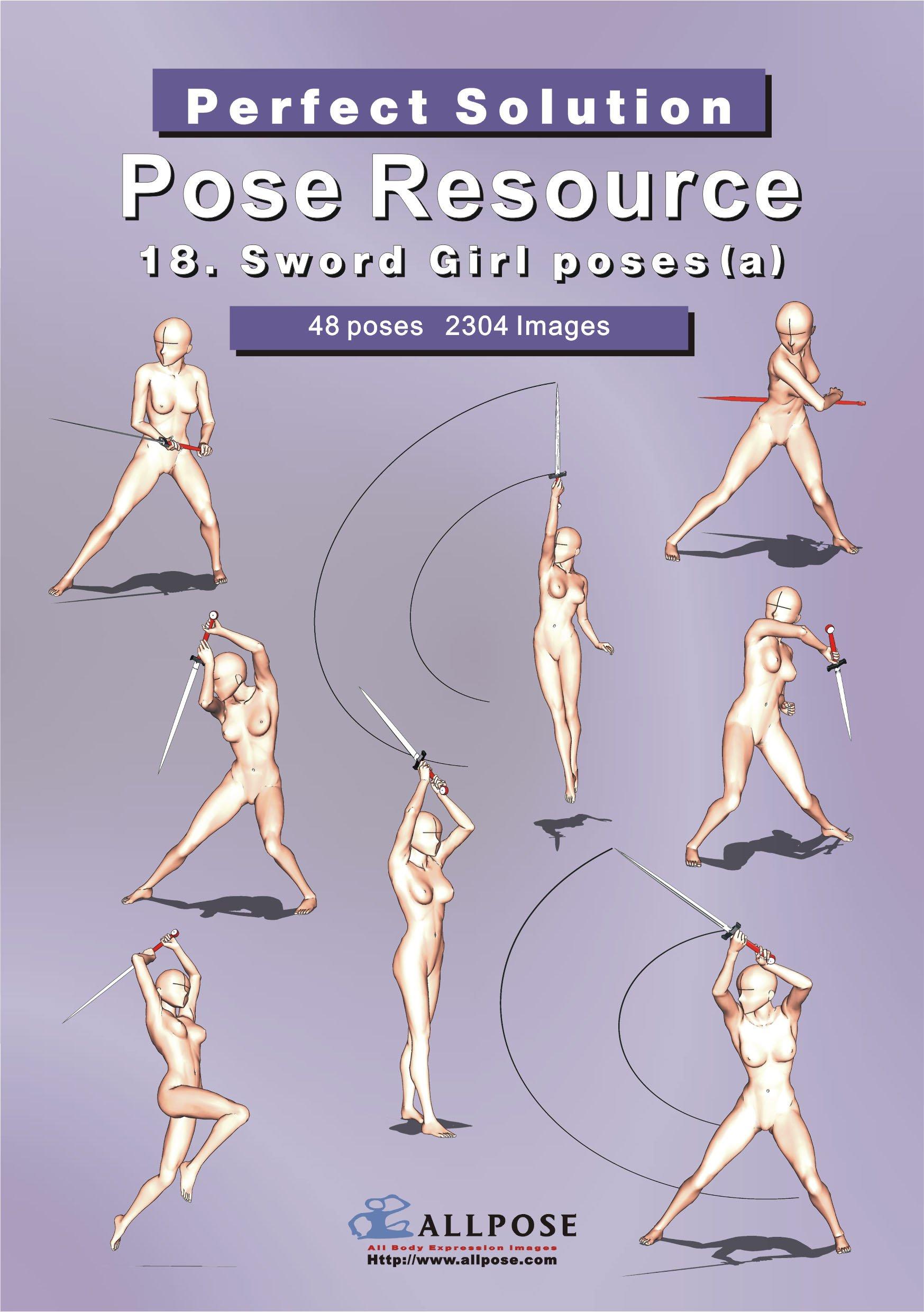 Allpose book 18 sword girl posesa for comic cartoon manga anime illustration human body pose drawing techniques allpose book drawing pose