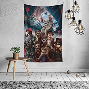 Bestrgi Home Decor Halloween Tapestry Ho-rr-or Character My-st-er-io-us Tapestries for Living Room Bedroom Decor Blanket Dorm Wall Art Hanging Tablecloth Art Picnic 60 x 40 Inches