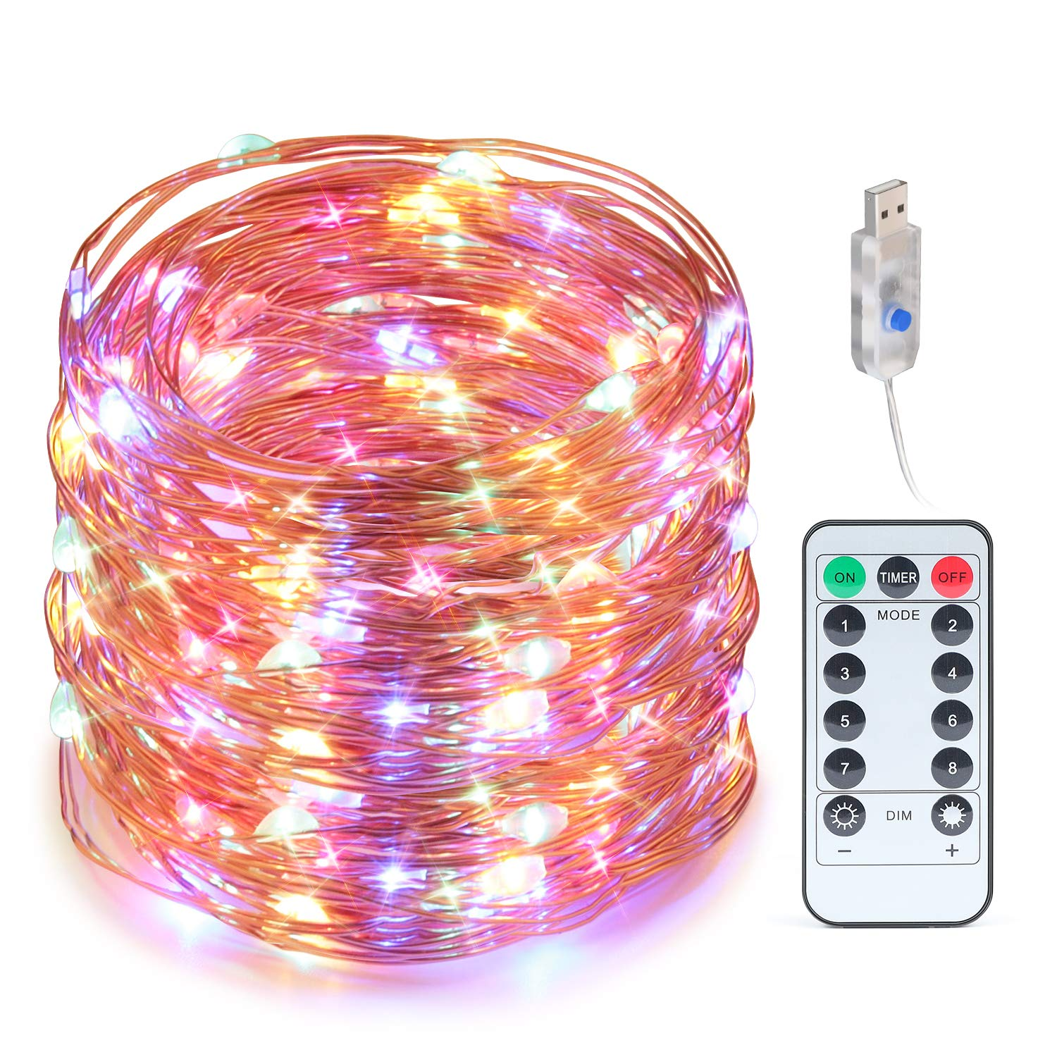 Craftersmark String Ligths USB Powered Fairy Lights 66ft 200 LEDs Timer Copper Wire Waterproof Bedroom for Christmas Thanksgiving Easter Halloween Party Wedding Decoration (Remote Control Included)