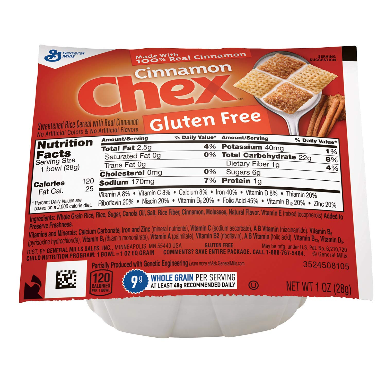 Cinnamon Chex Gluten Free Bowlpak Cereal, 96Count by General Mills Cereal