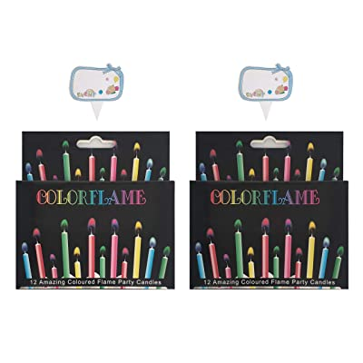 Kemladio Birthday Cake Candles Happy Birthday Candles Colorful Candles Holders Included (24, Medium): Home & Kitchen