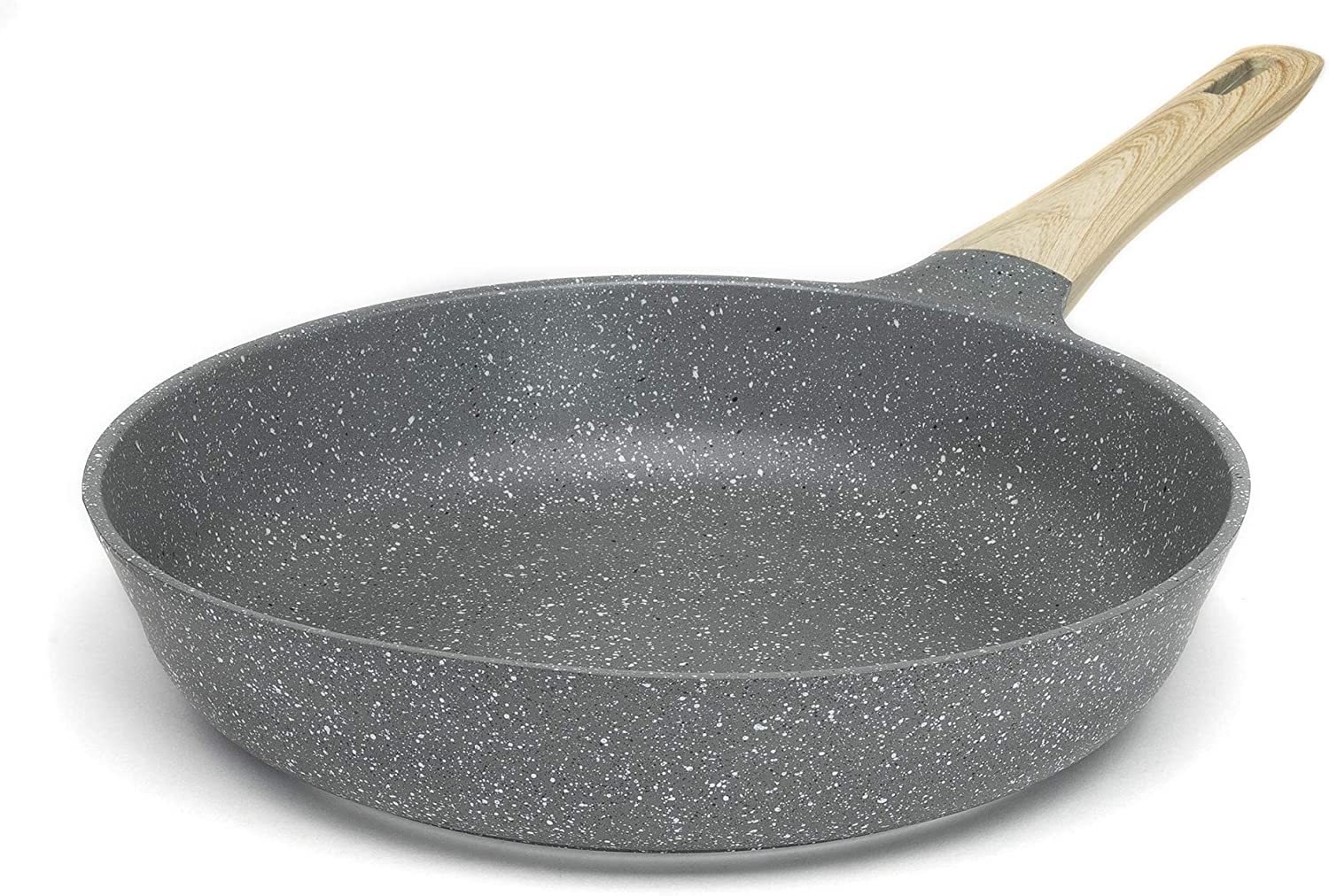 Ecolution Farmhouse Cast Aluminum Durable Nonstick Coating Stainless Steel Base Even Heating Dishwasher Safe Wood Look Handle 11 Inch Fry Pan Grey Speckle Kitchen Dining Amazon Com