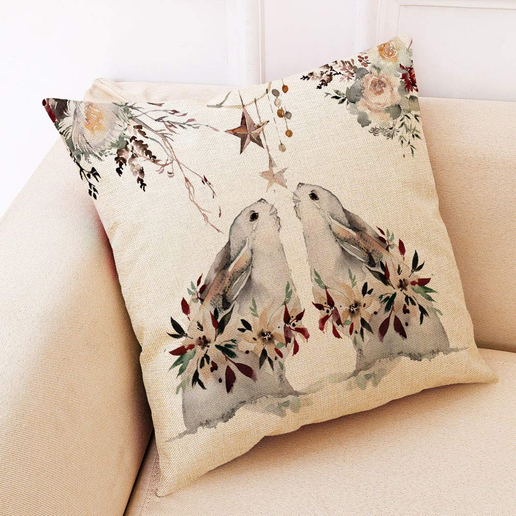 Doomfist Deep Forest Animal Style Throw Pillow Covers Animal Theme Decorative Square Cotton Linen Coastal Cushion Cover Throw Pillow case for 18 X 18 Inch Pillow Covers Set of 4 (NO Insert)