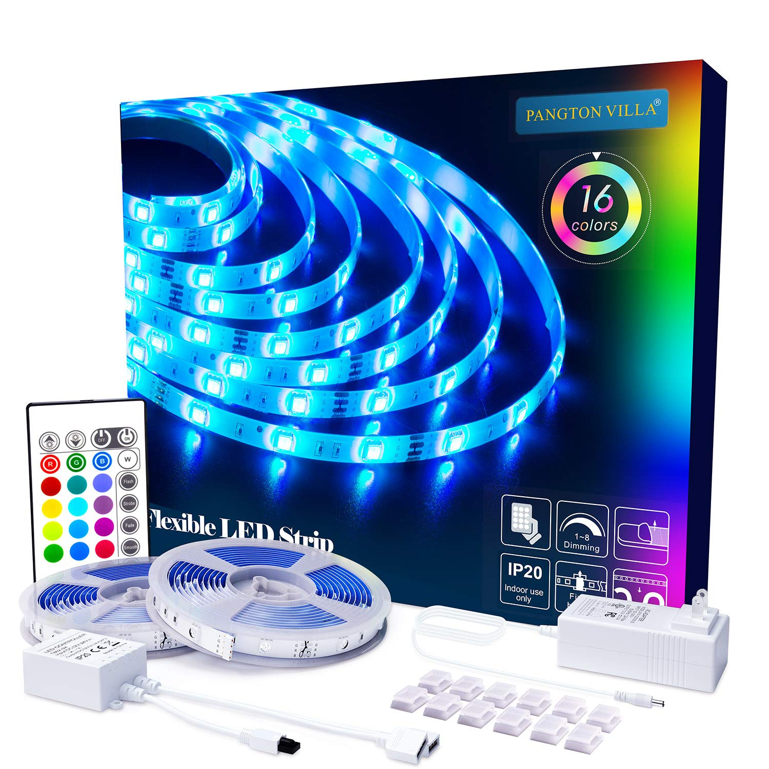 PANGTON VILLA Led Strip Lights 32.8ft with Remote and 3A Power Supply, SMD 5050 Color Changing LED Strip Light Kit for Room, Kitchen, Bedroom, Home Decoration Led Lights by PANGTON VILLA
