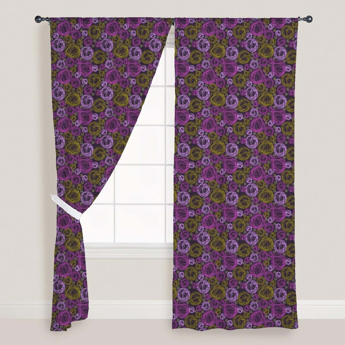 AZ Swirl Door & Window Curtain Satin 4feet x 11feet; SET OF 2 PCS