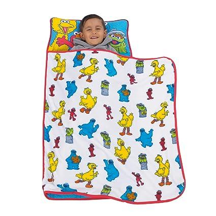 Red Toddler Nap Mat Blue Green Yellow Red Sesame Street Yellow Blue