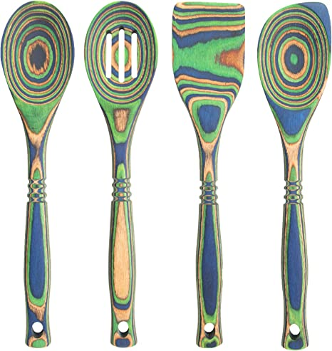 Island Bamboo Pakkawood 4 Piece Utensil Set Elegant Kitchen Spoon Slotted Spoon Corner Spoon And Spatula For Serving Cooking Heat Resistant Non Stick Utensils Kitchen Dining