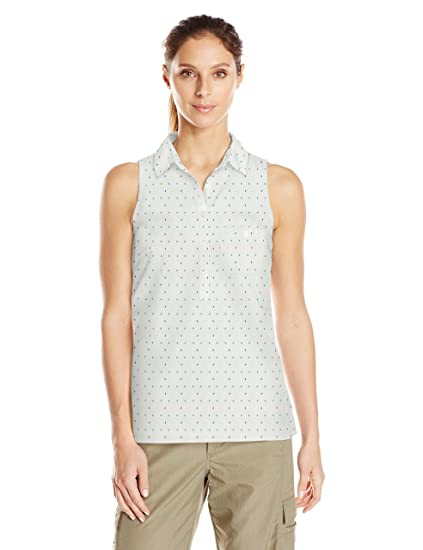 897daf7f569 Columbia Women's Sun Drifter Sleeveless Shirt, Blue Macaw Multi Swiss Dot,  X-Small