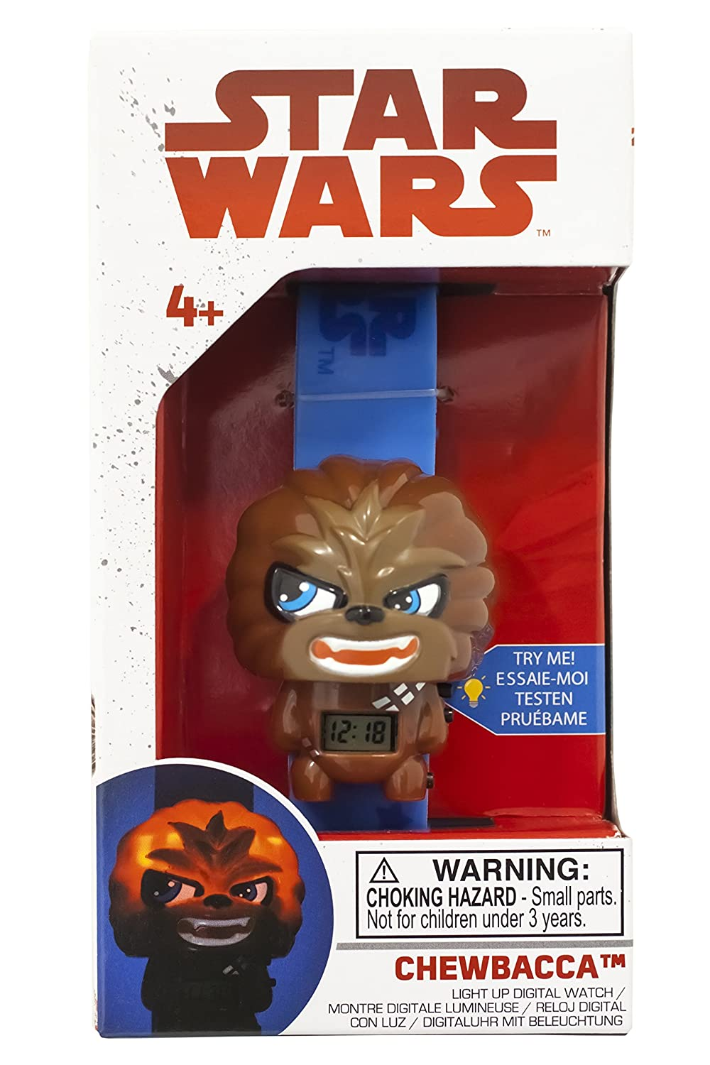 Amazon.com: BulbBotz Kids Star Wars Chewbacca Kids Light up Watch | Brown/Black | Plastic | Digital | LCD Display | boy Girl | Official: Watches