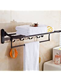 ELLOu0026ALLO Oil Rubbed Bronze Towel Racks For Bathroom Shelf With Foldable  Towel Bar Holder And Hooks