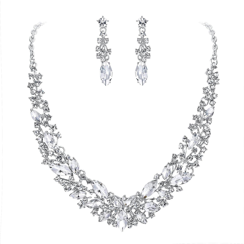 Clearine Femme Parure Bijoux Mariage Cristal Oval Cluster Collier Plastron Boucles doreilles Pendantes