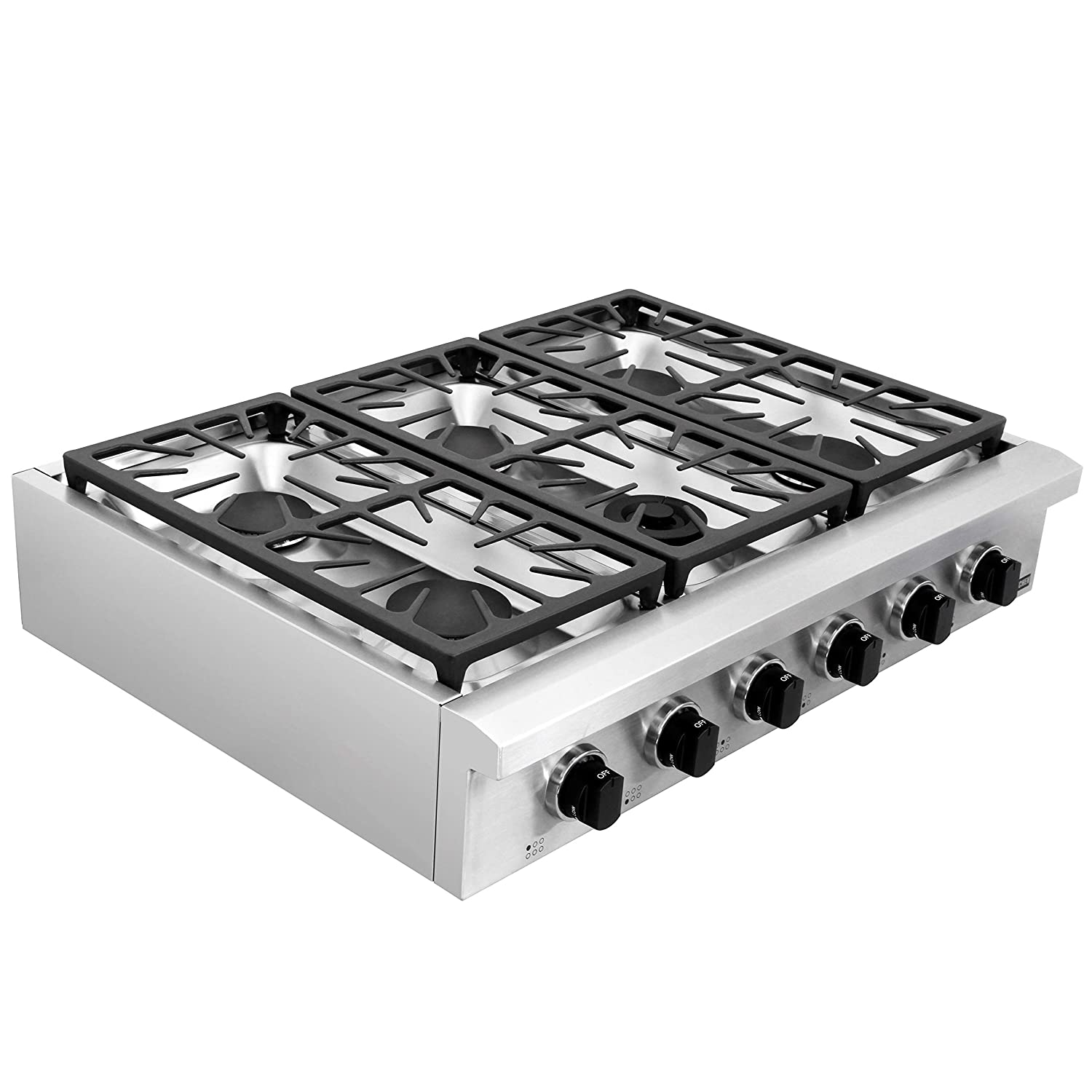 "SDADI Kitchen Gas Cooktop 36"" Stainless Steel Range top with 1 Dual Burner for Simmer NG/LPG (kit not included) convertible SDRT3601U"
