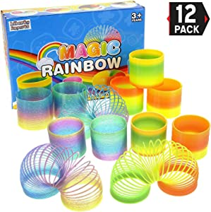 12 Pack Magic Rainbow Springs | Classic Novelty Colorful Rainbow Toy Assorted Bulk | Birthday Party Favors, Bag Fillers, Gift | Birthday Party Favors, Bag Fillers, Gift for Kids (1 Dozen) (2.5 Inches)