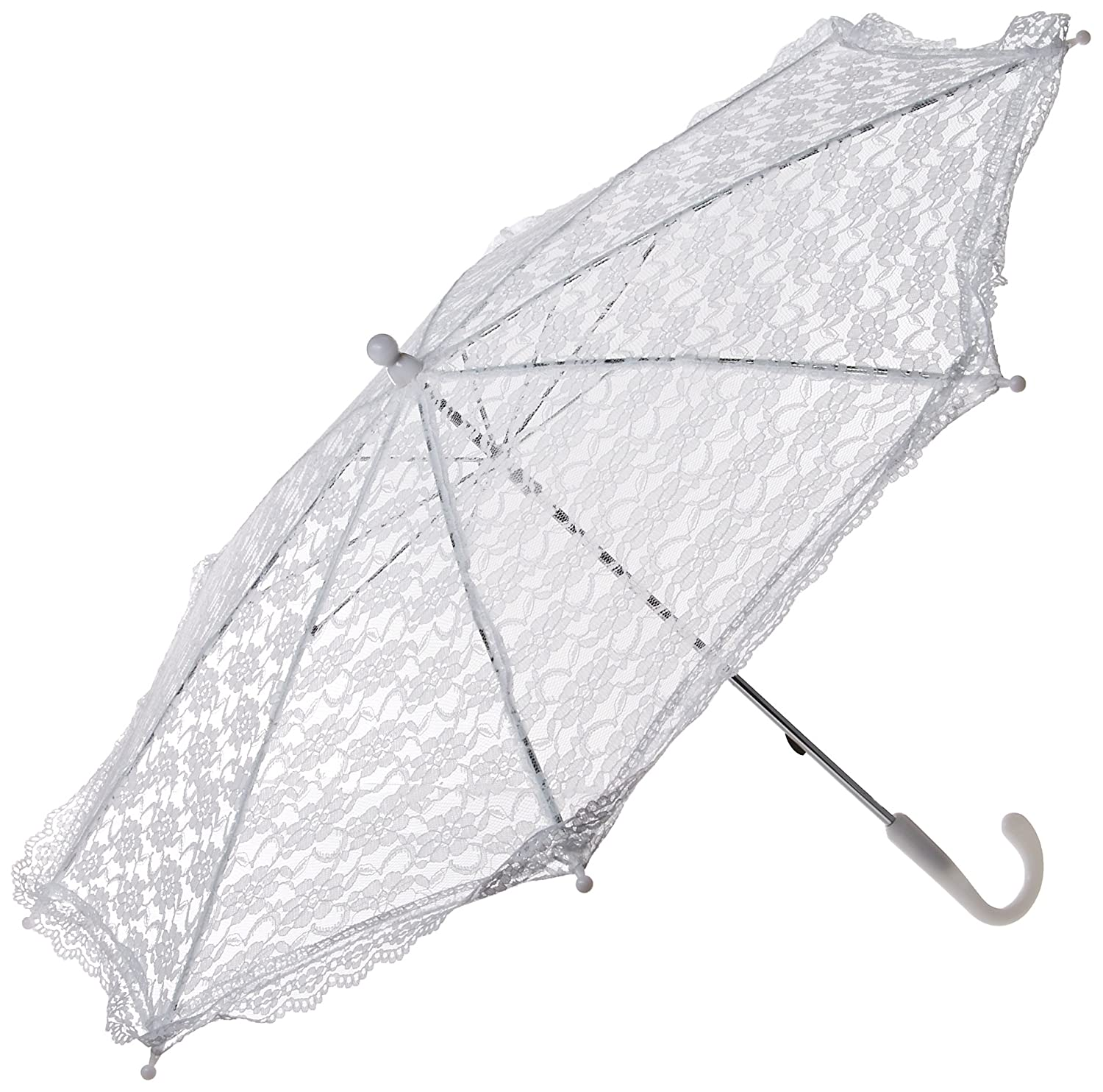 Darice Lace Embroidered Parasol, 32-Inch, White Party Supplies 35058-1