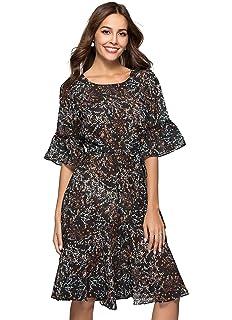 ac7211c06ceff ANNA&CHRIS Womens Boho Floral Bell Sleeve Casual Vintage Chiffon Midi Dress