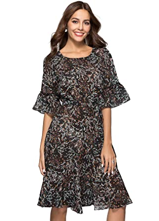 597f8c0c434 ANNA CHRIS Womens Boho Floral Bell Sleeve Casual Vintage Chiffon Midi Dress  Black S