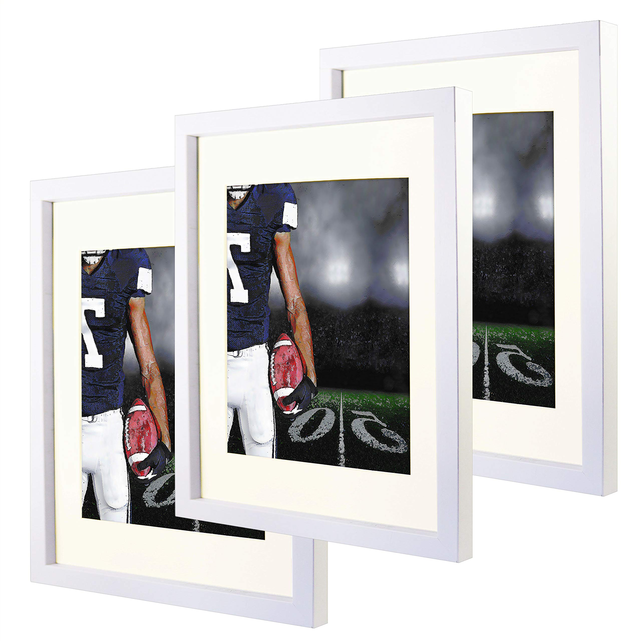 11x14 White Picture Frames with 8x10 Mat for Wall and Table Stand Photo Artwork Display Set of 3 Pack by Natural art