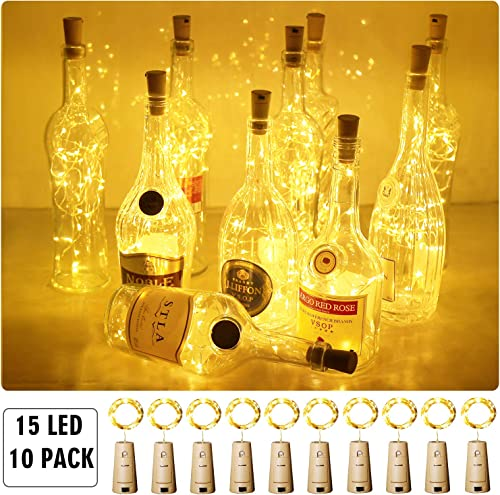 Aluan Wine Bottle Lights with Cork Christmas Lights 15 LED 10 Pack Fairy Lights Waterproof Battery Operated Cork String Lights for Jar Party Wedding Christmas Festival Bar Decoration, Warm White
