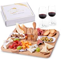 Exquisite Cheese and Cutting Board by Maison del Mar with 4 Knives & 2 Ceramic Bowls - Charcuterie Board Set & Cheese…