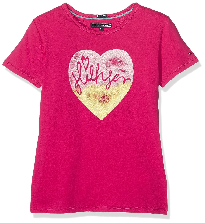 Tommy Hilfiger M Hifliger CN Knit S/S, Cardigan Bambina T-Shirt Bambina Rosso (Bright Rose) 176 (Taglia Produttore: 16) KG0KG02332