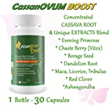 CassanOvum Boost, Fertility Supplement for egg quality and quantity, healthy uterine lining and increasesd cervical mucus, contains Cassava Root Extract and Unique Herbal Blend (Evening Primrose, Maca Root, Chaste Berry, Borage, Dandelion Root, Licorice Root, Tribulus Root, Red Clover and Ashwaganda - 30 Capsules