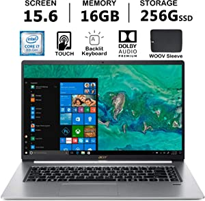 Acer Swift 5 Ultra-Thin & Lightweight Laptop | Intel Quad Core i7-8565U | Full HD IPS Touch | Backlit Keyboard | Fingerprint | Only 2.2 lb | Windows 10 | Woov Sleeve… (16GB|256GB SSD)