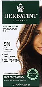 Herbatint Permanent Haircolor Gel, 5N Light Chestnut, 4.56 Ounce