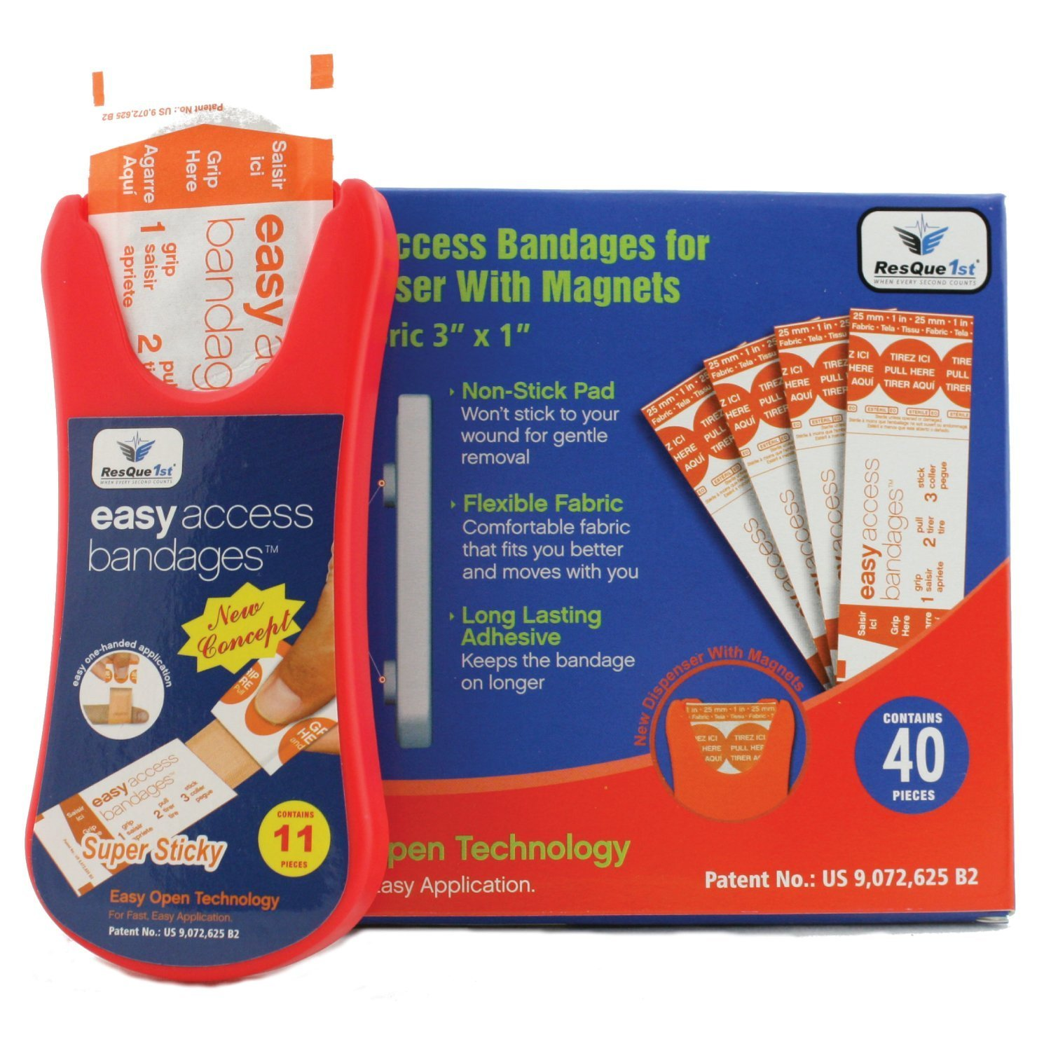 Fabric Adhesive Bandages Magnetic Dispenser: with Refill Kit, 50 Count, with One Hand Easy Access for Travel, Toiletries, First Aid Kits