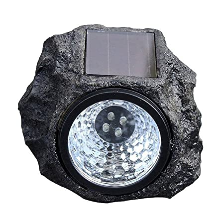 ascension Solar Rock Stone Waterproof Lamp 4 LED Decorative Landscape Path Light Resin Shape for Outdoor Garden Yard Lawn Pathway - Pack of 1