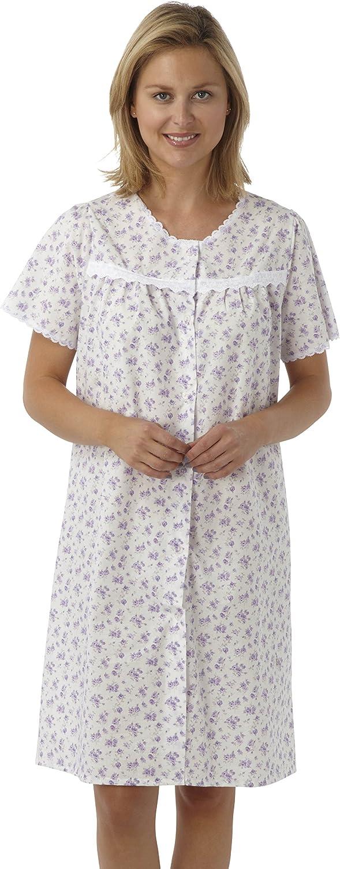 Azul y rosa o lila floral. Camis/ón de mujer para dormir Marlon con botones