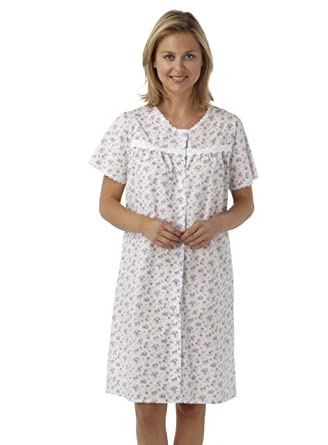 fb8ae50791 Marlon Ladies Short Sleeved Poly/Cotton Button Through Coat Nightdress.  Blue Pink or Lilac Floral. Sizes 10-12 12-14 16-18 20-22 24-26 28-30: Amazon .co.uk: ...