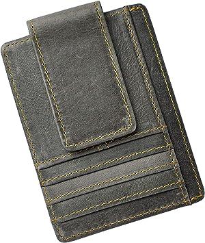 Leaokuu Hombre Cuero Genuino Cartera Billetera con 6 Ranuras para Tarjetas Billetera de Hombre con Broche magnética Paquete de Tarjeta de Billetera W1015 (1015 RFID Gris): Amazon.es: Equipaje