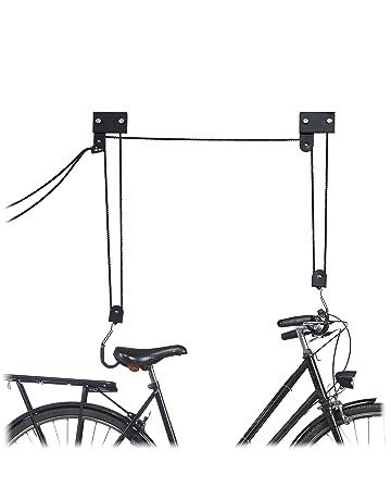 Relaxdays Colgador Bicicleta Techo, Metal, Negro, hasta 45 kg