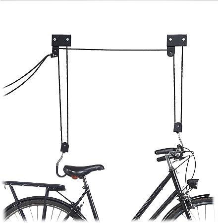 Bike Ceiling Hanger Lift Bicycle Storage Wall Mount Hook Roof Pulley Hoist Hang