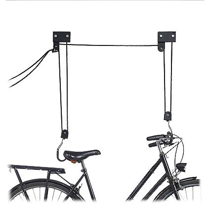 777abeaed82888 Relaxdays - Barra da soffitto per Bicicletta, 45 kg, con Ganci, Universale,