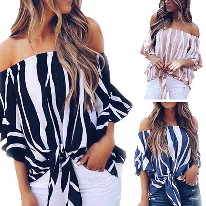 e8d58af0bc4dff Womens Off The Shoulder Tops Bell Sleeve Tie Front Knot Top Casual Striped  Blouse T Shirt at Amazon Women's Clothing store: