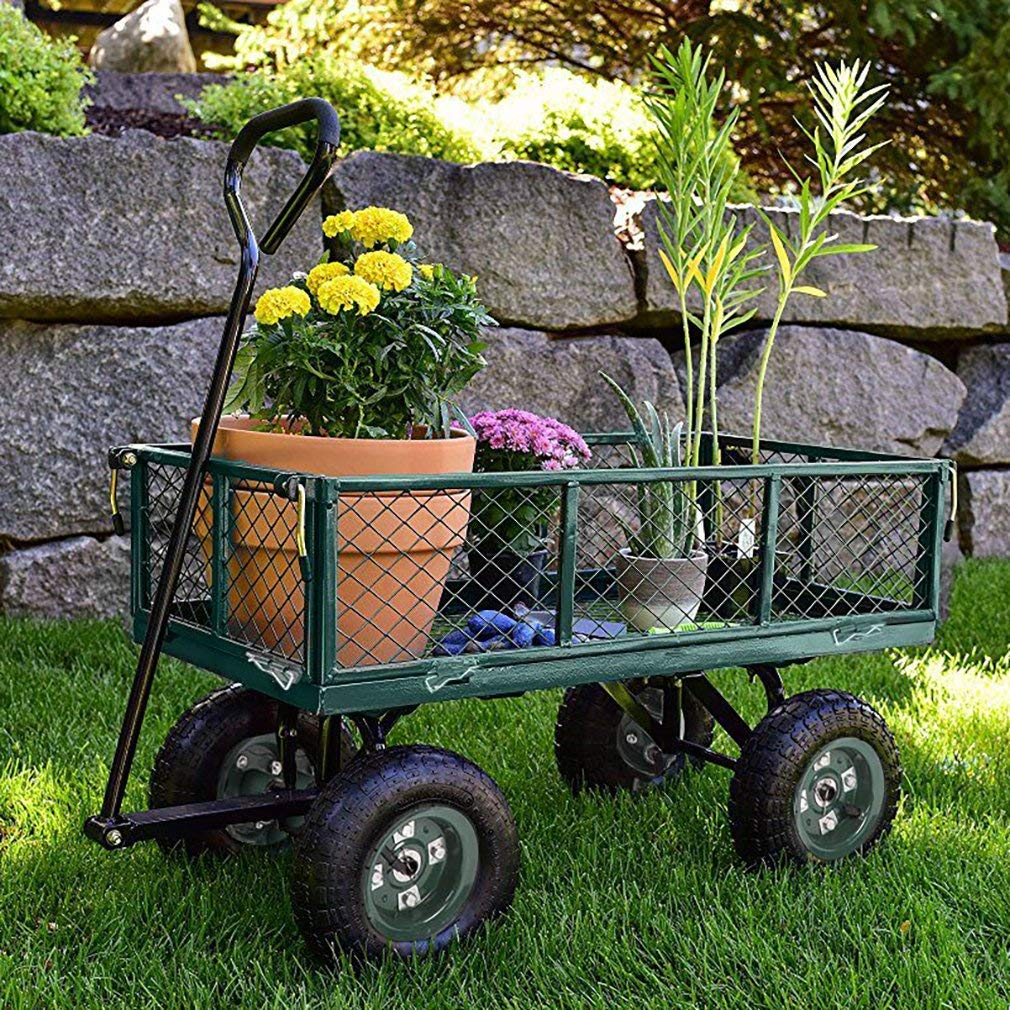 BestMassage Garden Cart Wheelbarrow Dump Wagon Utility Lawn Yard Cart Heavy Duty Steel With Removable Sides,Capacity 400 lbs,Green by BestMassage